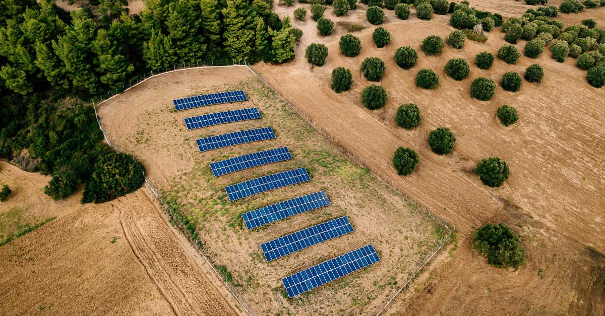 aerial view of solar panels on a farm, trends shaping Australian agriculture